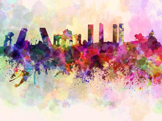 madrid-skyline-in-watercolor-background-pablo-romero